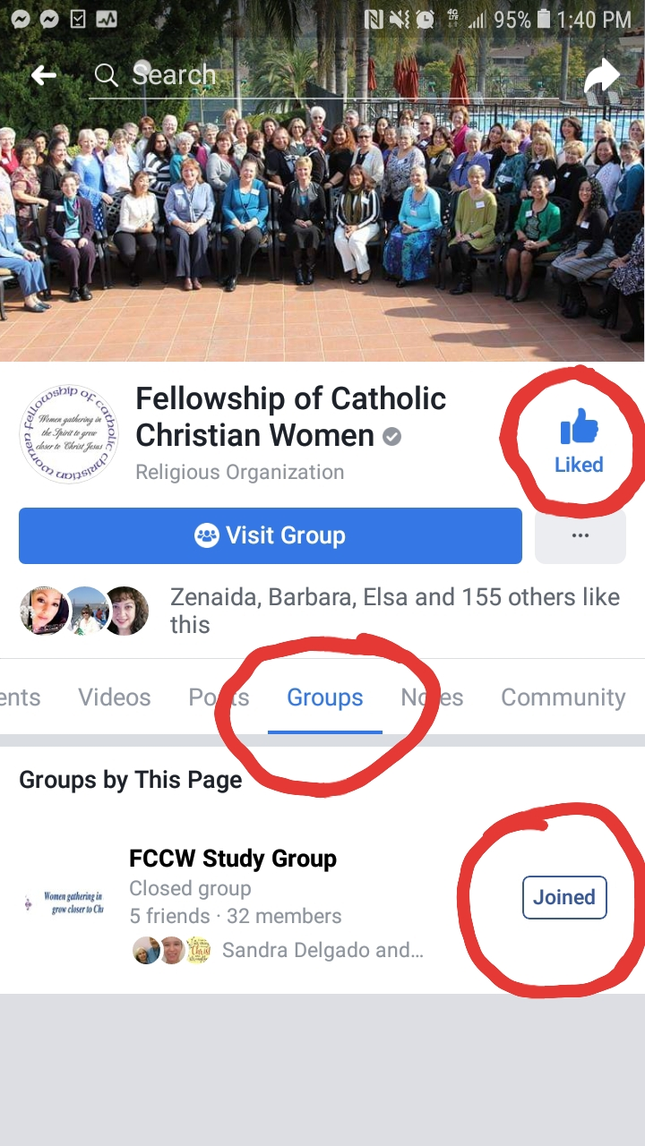 FB example for study group sign up
